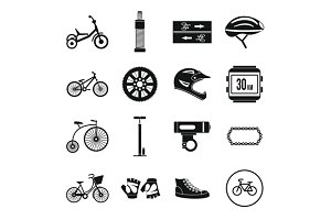 Biking icons set, simple style