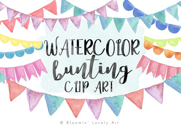 Watercolor Bunting Clip Art ~ Illustrations on Creative Market