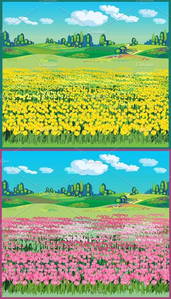 Picturesque Landscape with Tulips