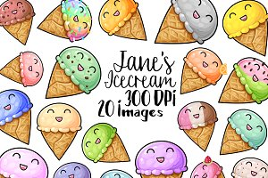 Kawaii Ice cream Clipart