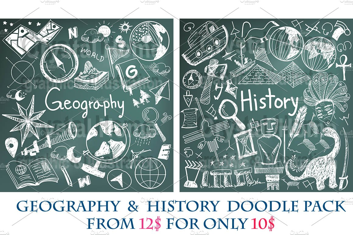 Geography History Chalk Doodle Pac Illustrations Creative Market