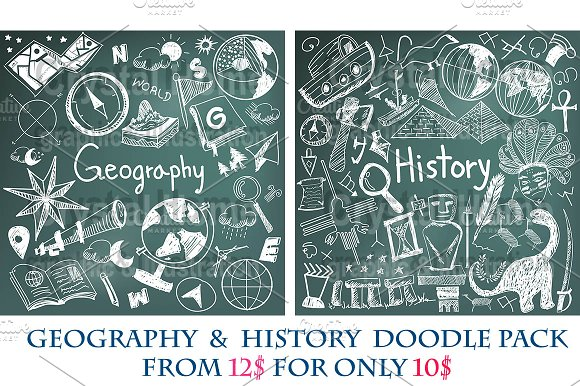 Geography & History chalk doodle pac