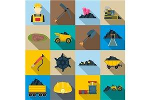 Mining Icons set, flat style