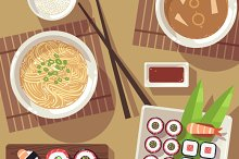 Dining table with japanese food