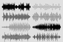 Sound music waves vector set