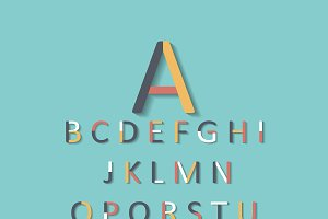 Colored font flat design vector