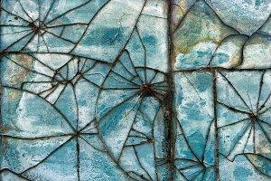 Patterns of broken glass tile