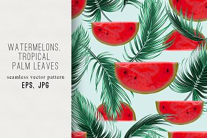 Watermelons,palm leaves pattern