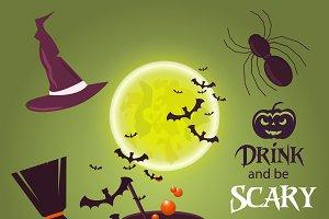 Spooky moon halloween vector symbols