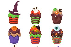 Happy halloween scary sweets vector
