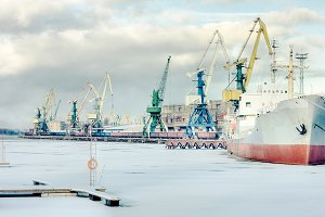 Winter. Port. Riga, Latvia