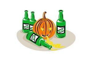 Beer Bottle and Pumpkin