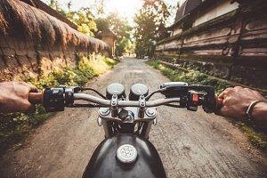 Biker driving his motorcycle