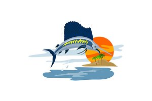 Sailfish Fish Jumping Island
