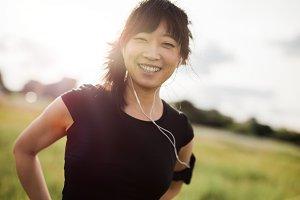 Happy female running