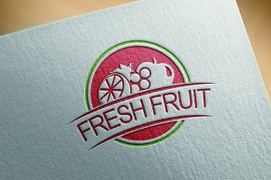 4 Fresh Fruit Badge Logo