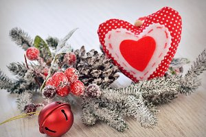 Christmas ball and heart.