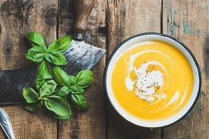 Pumpkin cream soup in bowl