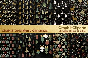 Chalk & Gold Merry Christmas Papers