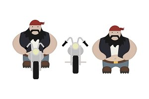 Biker with motorcycle. Vector
