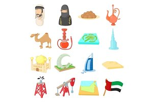 UAE icons set, cartoon style
