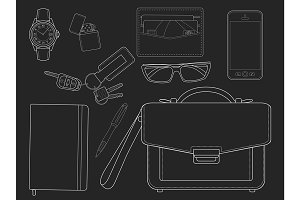 Every day businessman items. Vector
