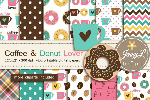 Coffee Donut Digital Papers Clipart