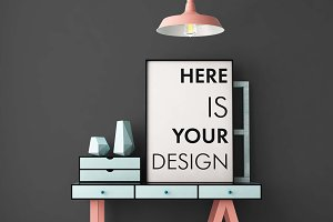 8 mockups posters in color interior