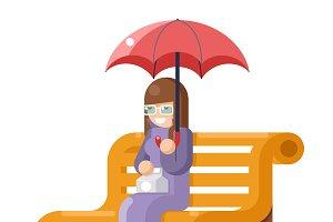 Girl sit bench