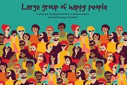 Group of happy people vector set