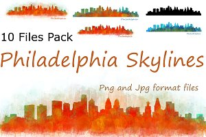 10 x Files Pack Philadelphia Skyline