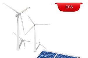 wind turbines and solar panel