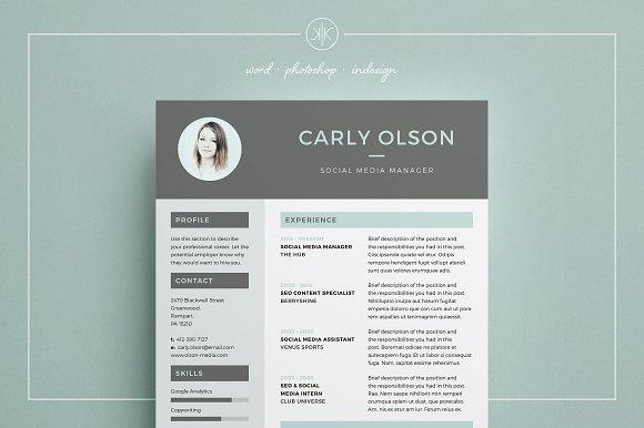 Resume/CV | Carly ~ Resume Templates ~ Creative Market