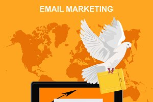 email marketing, tablet with dove