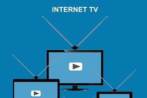 internet tv concept, vector