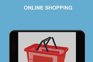 online shopping concept, cellphone