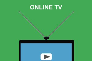 online tv, laptop with antenna