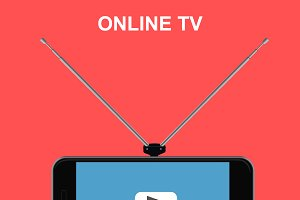 online tv, cellphone, vector