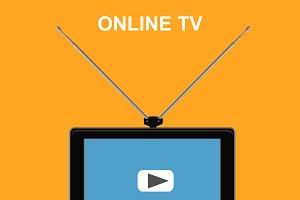 online tv concept, tablet