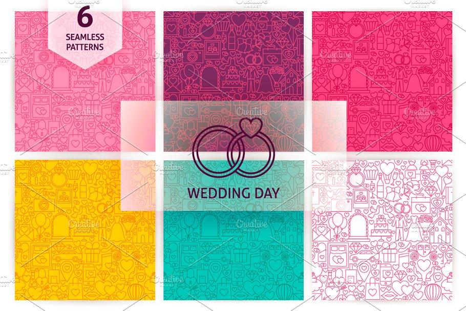 Wedding Line Seamless Patterns