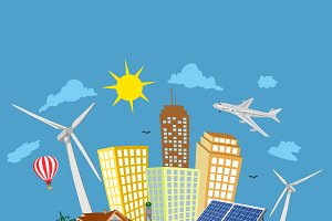green city concept, renewable energy