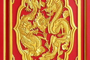 Golden dragon carved from wood