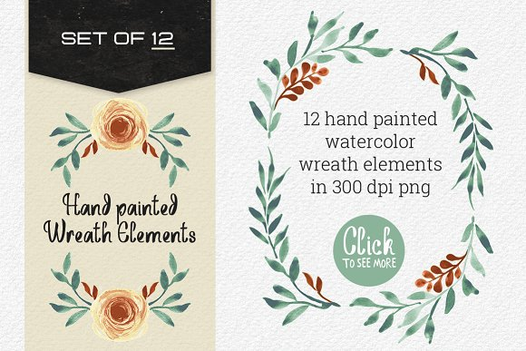 12 Hand painted Wreath Elements