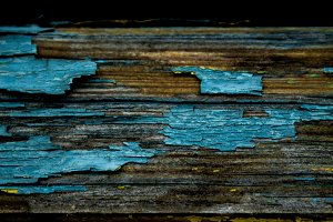 Old blue paint on the wood