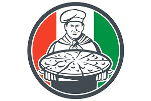 Italian Chef Cook Serving Pizza Circ