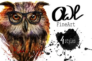 Set owls fineart .4 styles