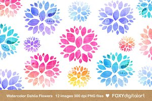 Watercolor Flowers Clipart Dahlia