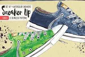 Watercolor Sneakers + Bonus
