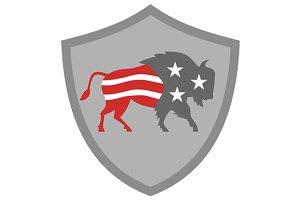 North American Bison USA Flag