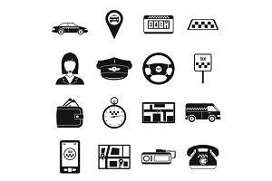 Taxi Icons set, simple style
